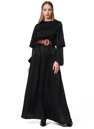 Mizalle İki Kat Volan Kollu Elbise Siyah
